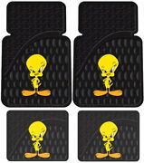 Tweety Pie Bird Looney Tunes Front And Rear Car Floor Rubber Utility Mats Gift Set