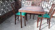 Vintage Leg-o-matic Lorraine Table And 4 Folding Chairs For Airstream Tiny House