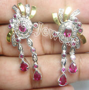 Black Friday 2.25ct Natural Diamond 14k Solid Yellow Gold Ruby Dangler Earring