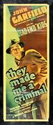 They Made Me A Criminal ✯ Cinemasterpieces 1939 Film Noir Movie Poster Crime
