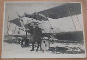 Wwi - A Real Framed Big Photo Of A German Pilot In Front Of An Airplane