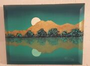 Ouray Meyers Teal Twilight- Oil With Gold Leaf -taos New Mexico Artist Original