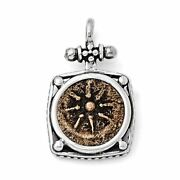 Ancient Coins Sterling Silver And Bronze Antiqued Widows Mite Coin Pendant