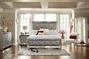 Designer 4 Pc Tufted And Mirrored Bed + 2 Nightstands+dresser Free Local Delivery