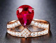 1.02t Natural Round Diamond 14k Rose Gold Ruby Gemstone Cluster Ring Size 7 To 9