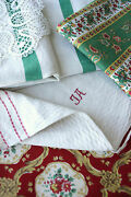 Antique Vintage French Fabrics Materials Christmas Project Bundle For Crafts
