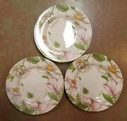Royal Stafford Earthenware Poetry Flowered 8 1/2 Salad Plates - Set Of 3