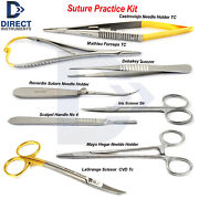 Medical Suture Practice Kit Suturing Training Scissor Dissecting Toothed Forceps