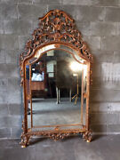 Antique And Elegant Louis Xvi Mirror With Wooden And Gold Leaf Frame
