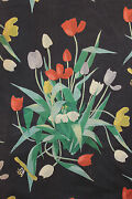 Vintage French Designer Curtain Fabric C1950and039s Suzanne Fontan Paris Curtain