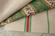 Vintage French Fabrics Antique Material Project Bundle Homespun Check C1850
