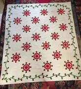 1860and039s Red And Green Appliquandeacute Antique Quilt Feather Wreath