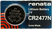 5pc Renata Cr2477n 2477 Lithium Battery 3v - Swiss Made, Ships From Canada