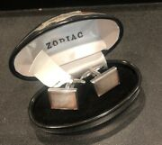 Zodiac Cuff Link Set Made In Germany Mother Of Pearl Lilac - New With Tags And Box