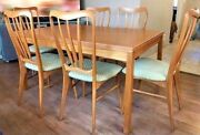 Antique Teak Wood Koefoeds Hornslet Table And Chairs Dining Mid Century Modern