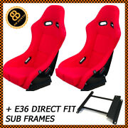 Pair Red Bb5 Fixed Fibreglass Racing Bucket Seats + Sub Frames For Bmw E36