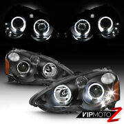 For 02-04 Acura Rsx Dc5 Black Dual Halo Ring Projector Led Drl Headlights Lamp