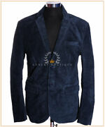 Carter Blue Menand039s New Smart 2 Buttons Real Cowhide Suede Leather Blazer Jacket