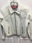 Wilsons Leather Sz L White 100 Leather Zip Up Jacket Stunning
