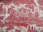 Toile De Jouy 4-poster Red Bed Cover Antique French 18th Century Fabric