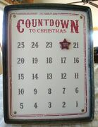 2 Pc Magnetic Mud Pie Distressed Tin Advent Calendar Countdown To Christmas Sign