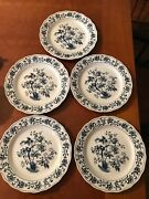 5 Style House Ming Tree Ironstone 10 Dinner Plates Blue And White High Gloss