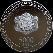 Armenia 5000 Dram Silver Coin Proof 2018 25 Years Of National Currency Dram