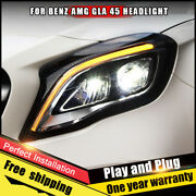 For Benz Gla Amg Headlights Assembly Bi-xenon Lens Double Beam Hid Kit 2015-2018