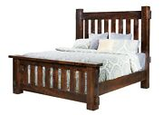 Amish Rustic Slat Bed Mortise Tenon Rough Sawn Wood Bedroom Furniture Queen King