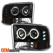 Fits 99-04 F-series Superduty 00-04 Excursion Black Halo Projector Headlights