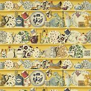 Designer French Country Roosters Pottery Collection Fabric 10 Yards Yellow Multi