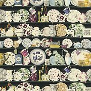 Designer French Country Roosters Pottery Collection Fabric 10 Yards Black Multi