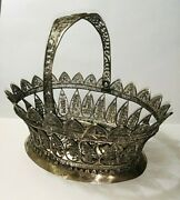 Antique Sterling Silver Filigree Basket 19th Century Beautiful