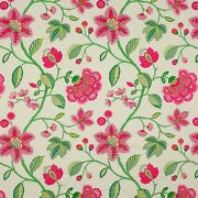 Manuel Canovas Mina Floral Embroidered Cotton Fabric 10 Yards Rose Hot Pink