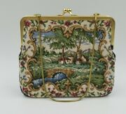 Vintage Embroidered Clutch Purse West Germany Gold Tone Satin Lining Chain
