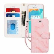 Iphone Se Wallet Case Leather Card Slots Stand Folio Magnetic Close Marble Pink