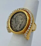 18kt Yellow Gold Coin Ring With Diamonds Size 6.5 Us