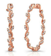 1.28cts Natural Diamond 14k Solid Rose Gold Wedding Snap Closure Hoops Earrings
