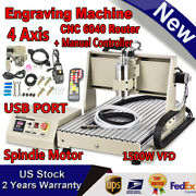 4 Axis Usb 6040 Cnc Router Engraving Diy 3d Machine 1.5kw Vfd Spindle Motor + Rc