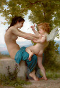 A Young Girl Defending Herself Against Eros By William-adolphe Bouguereau Pre...