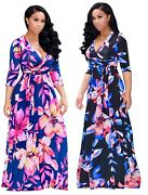 Womenand039s Plus Size Floral High Waist Evening Cocktail Gown Long Maxi Dress Zg9