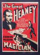 Original Vintage The Great Heaney Magician Poster - 1920s - Window Card - Circus