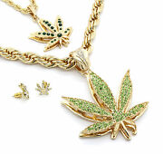 Mens 14k Gold Plated Green Marijuana Pendants And Earrings Bundle W/ 2 Rope Chains