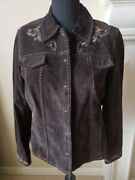 Coldwater Creek Brown Xl Brown Leather Suede Jacket W/ Beaded Detail