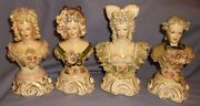 4 Vintage Cordey Bust Figurines W/lace/flowers/bows/curly Hair3 Ladies And 1 Man