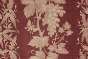Bed Curtain Antique French 1870 Large Printed Cotton Madder Brown Passementerie