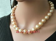 Aaaaa 1713-15mm Perfect Round Natural South Sea Gold Pink Pearl Necklace 14k