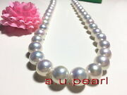 Top Luster Perfect Round 1713-16mm Real South Sea White Pearl Necklace 14k Gold