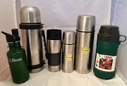 Vtg L.l. Bean Lot Stainless Steel Water Bottle Thermos Coffee Mug Travel Trudeau