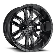 Fuel Sledge D595 24x14 6x135/6x139.7 Offset -75 Gloss Black And Milled Qty Of 4